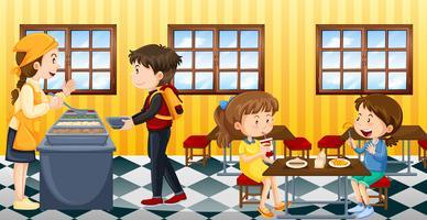 Scène met mensen die in kantine eten