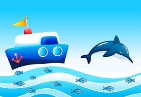 Een zee met vissen en een schip