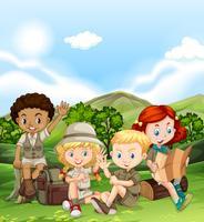 Kinderen kamperen overdag vector