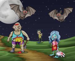 Zombies lopen 's nachts op de grond vector
