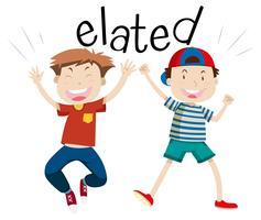 Engels vocabulaire word opgetogen