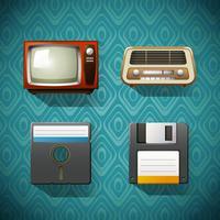 Vier vintage items op blauwe achtergrond
