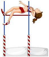 Vrouwelijke atleet hoogspringen