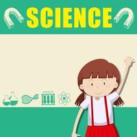 Grensontwerp met meisje en wetenschap vector