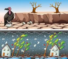 Twee scènes met droogte en regenbui vector