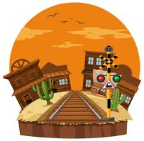 Scène met cowboystad en spoorweg