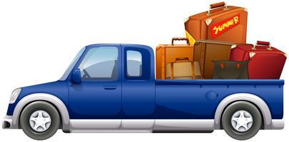 Pick-up truck geladen met zakken vector