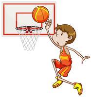 Mens die basketbal in de hoepel ontspruit