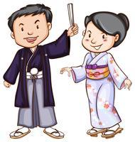 Een eenvoudige schets van mensen die de Aziatische kostuums dragen