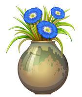 Een pot met blauwe bloemen vector