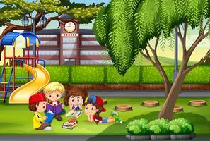 Kinderen werken in het park vector