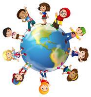 Kinderen die zich op wereldbol bevinden vector