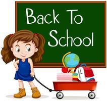 Meisje en terug naar schoolteken