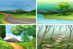 Set van natuurtaferelen