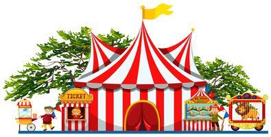 Pretpark met tent en verkopers vector
