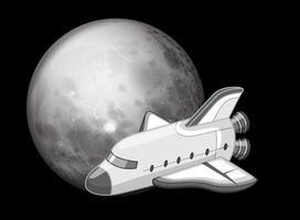 Zwart en wit ruimteschip scène vector