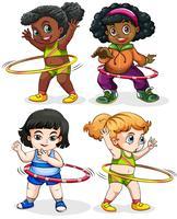 Vier meiden spelen hulahoops