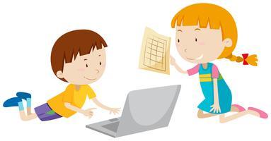 Jongen en meisje die aan computer werken vector