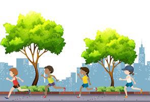 Mensen joggen in het park vector