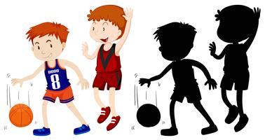 Twee jongens spelen basketbal