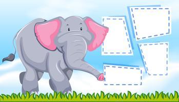 Een olifant op lege nota vector