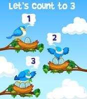 Laat tellen tot drie vogel-concept