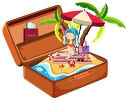 Meisje op het strand in bagage