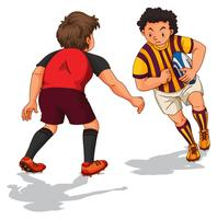 Twee mensen die rugby doen