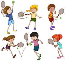 Mannelijke en vrouwelijke tennisspelers