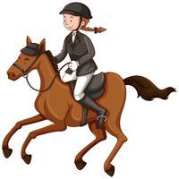 Vrouwelijke jockey die ruiter doet