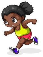 Een zwart meisje aan het rennen