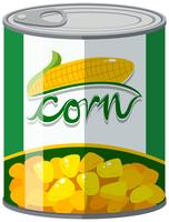Maïs in aluminium kan vector