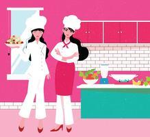 Twee vrouwelijke chef-kok Vector