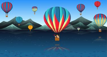Kinderen rijden in hete luchtballon