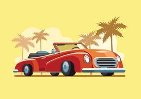 Retro auto geparkeerd in het strand vector
