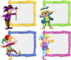 Houten frame met clowns