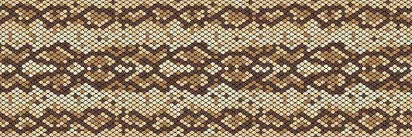 Snakeskin naadloos patroon. Realistische textuur van slang of een andere reptielenhuid. Beige en bruine kleuren. Vector illustartion