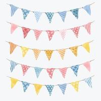 aquarelvlaggen en slingerslingers voor decoratie vector