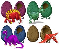 Verschillende soorten draken en eieren vector
