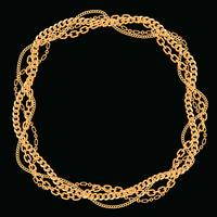 Rond frame gemaakt met gedraaide gouden kettingen. Op zwart. Vector illustratie