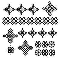 Een reeks zwart-witte geometrische ontwerpen. Tekens en randen. Vector illustratie