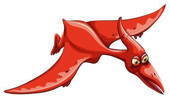 Rode dinosaurus die in de hemel vliegt