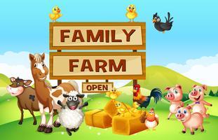 Boerderijdieren op de boerderij vector