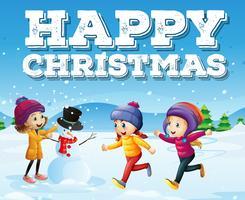 Fijne kerst met kinderen in het sneeuwveld