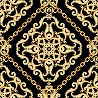 Naadloos damastpatroon. Gouden beige op zwarte textuur met kettingen. Vector illustratie.