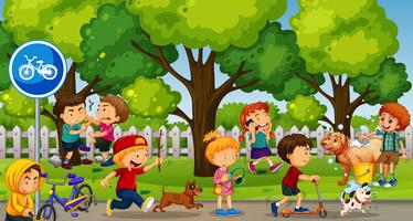 Parkscène met spelende en vechtende kinderen