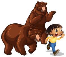 Meisje weglopen van grizzlyberen vector