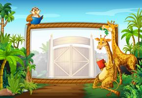 Frame ontwerp met giraffe en uil