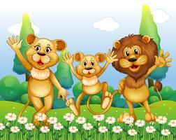 Leeuwfamilie die zich op het bloemgebied bevindt