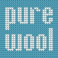 Gebreide tekst. Pure wol. In blauwe en witte kleuren. Vector illustratie.